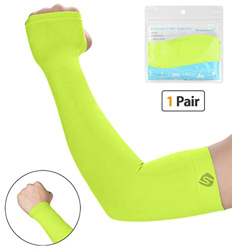 SHINYMOD UV Protection Cooling or Warmer Arm Sleeves for Men Women Kids Sunblock Protective Gloves Running Golf Cycling Driving 1 Pair/ 3 Pairs/ 5 Pairs Long Tattoo Cover Arm Warmer-Hi Viz Yellow