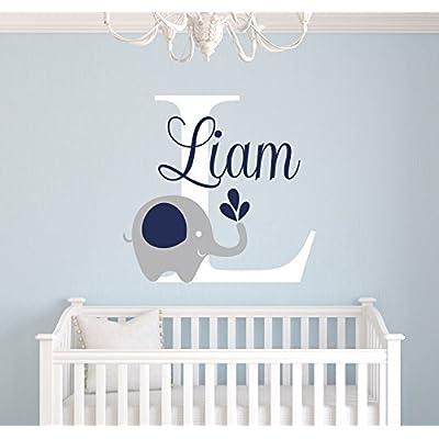 Custom Elephant Name Wall Decal - Elephant Room Decor - Nursery Wall Decals - Elephant Vinyl Sticker for Boys Decalzone Inc: Beauty