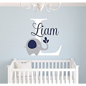 Custom elephant name wall decal elephant room decor nursery wall decals elephant vinyl