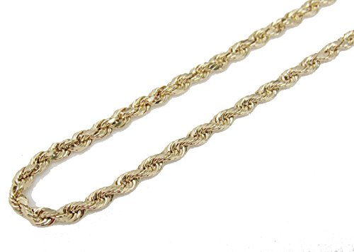 10K Yellow Gold Italian Rope Chain 30'' 2.5mm wide Hollow 4.2 Grams by Melano Creation