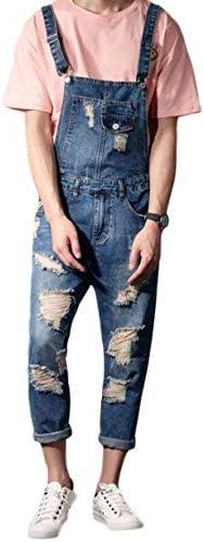 Bestmoodサロペットパンツ メンズ スリム ダメージ加工 ファッション ジーンズ おしゃれ オーバーオール カップル 春 夏