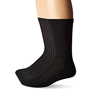Hanes Men's Ultimate X-Temp Crew Socks 6-Pack (1 Free Bonus Pair), Black, 10-13