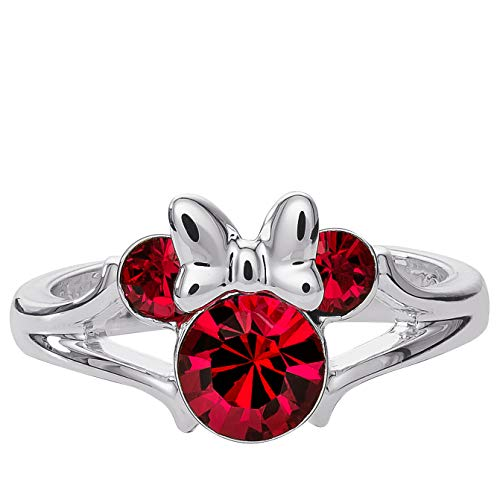 Disney Minnie Mouse Birthstone Jewelry for Girls, Silver Plated Ruby Red Crystal July Birthstone Ring Size 4, Mickey's 90th Birthday Anniversary (Child Birthstone Jewelry)