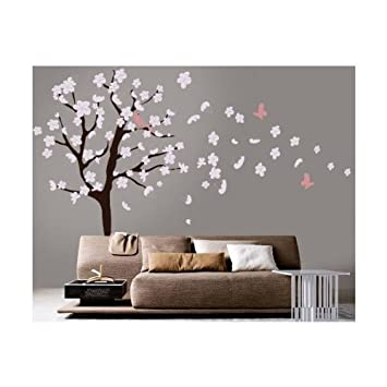 Tree Wall Decal   White Cherry Blossom Wall Decal   Flowers Blowing In Wind
