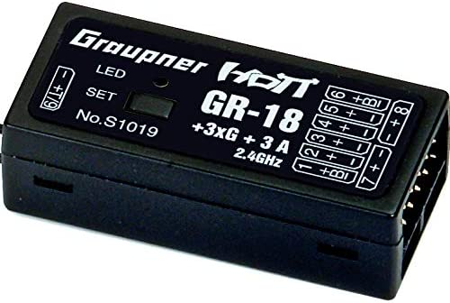 Graupner GR-18AIR 9 Channel 2.4GHz HoTT Receiver and Airplane//Helicopter Flight Controller