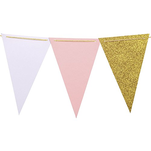 Ling's moment 10 Feet Triangle Flag Bunting Banner - Upgrade Version, Vintage Style Pennant Banner for Wedding, Baby Shower, Event & Party Supplies, 15pcs Flags(Pink+White+Gold Glitter)