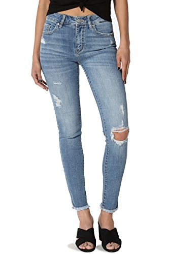 Seven 7 Jeans Crop Jean - TheMogan Women's Distressed Mid Rise Washed Frayed Hem Crop Skinny Jeans Medium 7