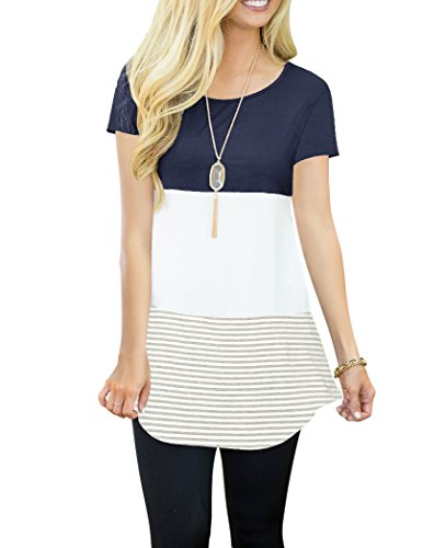 Heymiss Womens Short Sleeve T-Shirt Color Block Stripe Tunic Tops Tees