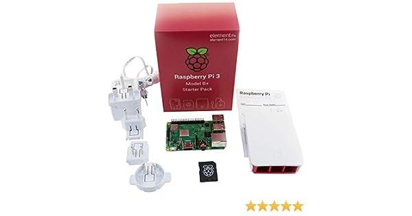 Element Raspberry Pi 3 Model B+ - Kit de iniciación Completo con mSD, Carcasa y Fuente de alimentación, Color Blanco: Amazon.es: Informática