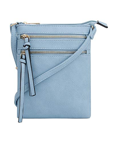 DELUXITY | Crossbody Wristlet Bag | Functional Multi Pocket Double Zipper Purse | Adjustable & Detachable Strap | Medium Size Purse | Periwinkle