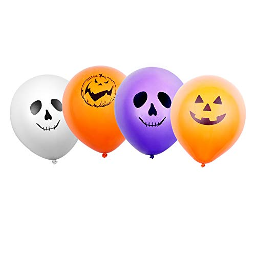 Halloween LED Balloons - 30pcs Light Up Balloons Halloween Ghost Balloon with 4 Spooky Patterns White Orange Purple Colour Latex Balloon Glows Up to 12 Hours Party Home Garden Lantern Halloween Decors