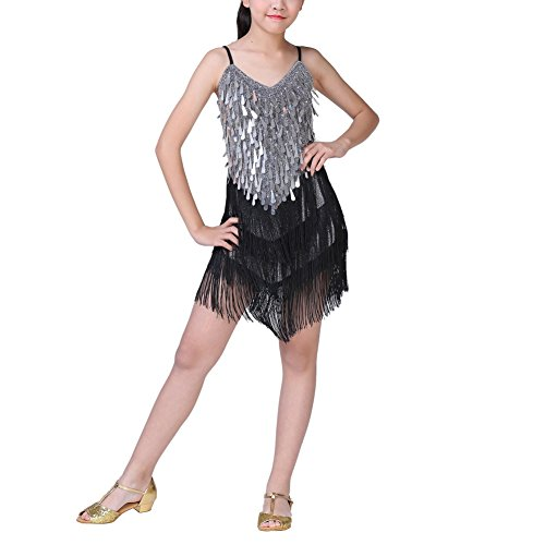 [Soly Tech Little Girl Latin Tango Dance Dress Sequin Tassel School Dance Costume] (Samba Costumes Uk)