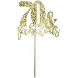 Happy Birthday Cake Topper 70th Birthday Cupcake Topper for Party Supply Decoration -70 & Fabulous Premium Quality