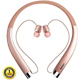 Bluetooth Headphones, DolTech Wireless Neckband Headset with Auto Retractable Earbuds, Sports Sweatproof Noise Cancelling Stereo Earphones with Mic (Rose Gold)