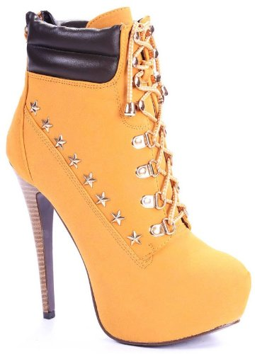 ba64a7328ea Image Unavailable. Image not available for. Color  JJF Shoes Caitlyn Camel  Combat Tyrant Military Metallic Lace Up Zip Platform Stiletto Ankle Bootie-