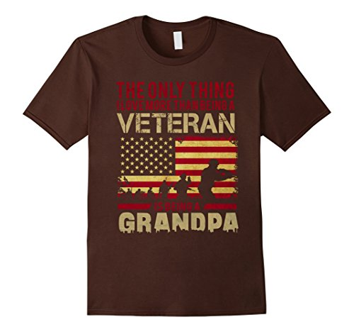 Men's U.S.Veteran T-Shirts. Meaning Gifts For Veteran Grandpa. 3XL Brown
