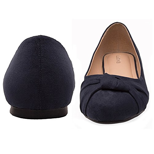 Micro Round On Women's Width Toe Blue Luoika Shoes Flat Wide Flats Slip Comfortable Fabric Ballet 8wd0qOdC