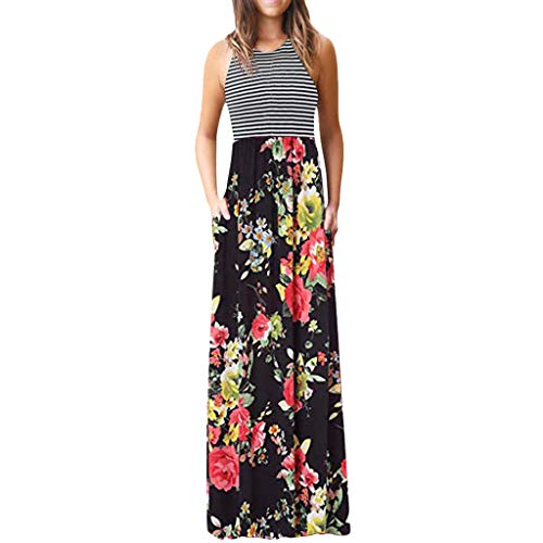(Women's Round Neck Stripe Maxi Dress Casual Floral Print Long Dress with Pocket Red)