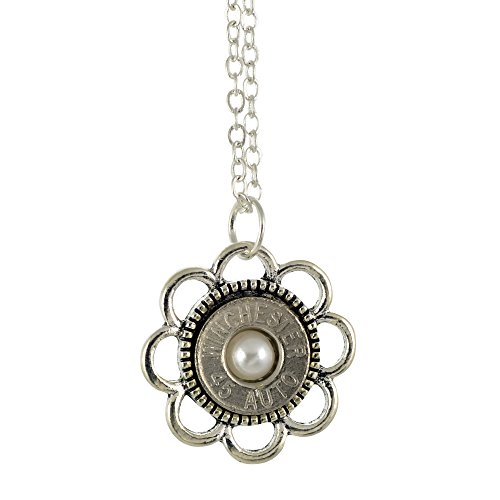 (Little Black Gun 45 Caliber Bullet Casing Necklace, Silvertone Flower Design Pendant with Frost Accent, 18