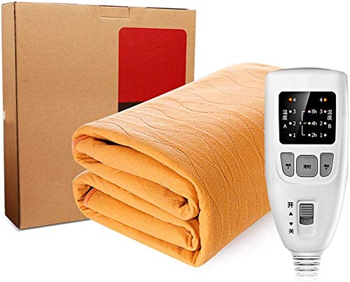 Brown Micro-Fleece Heated Mattress Pad W/Dual Control and 8H Timer Electric Heating Bed Toppers W/4 Heating Levels Reversible Fast Heating,King(200CM180CM)