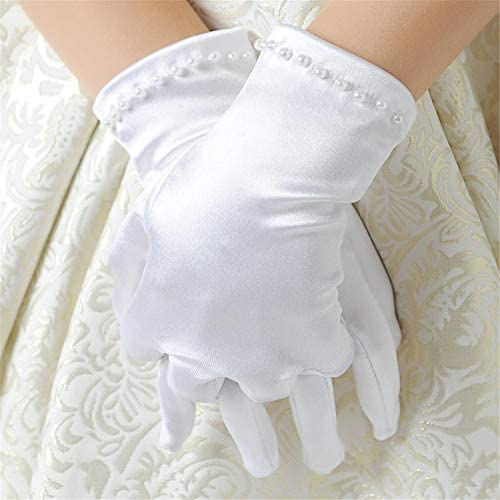 Fankeshi Favorite Girls Gorgeous Satin Fancy Stretch Dress Formal Pageant Party Long Gloves 4~14 years old 8~14 Years Short, L