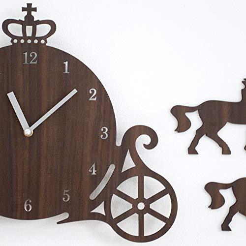 DUOLUO クリエイティブウォールクロックリビングルーム創造的なシンプルな木製時計ミュート子供の寝室の装飾パーソナリティクロック (Color : Dark brown)  Dark brown B07Q4KDHL3