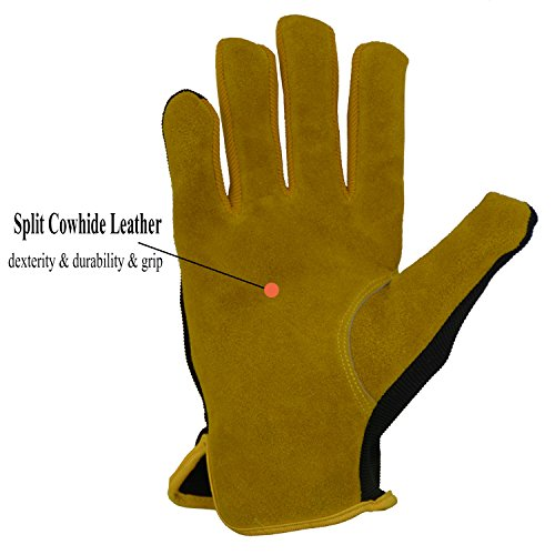 Men Work Gloves for Gardening, Mechanics, Construction, Driver, Cowhide Leather Palm, Dexterity Breathable Design by HANDLANDY (Image #2)