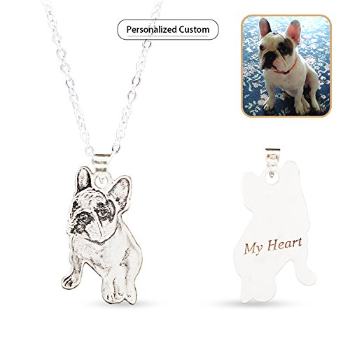 Wisdoy Personalized Pet/Cat/Dog Photo Necklace Pendant Silver Chain Custom Picture Necklaces Handmade Gift for ()