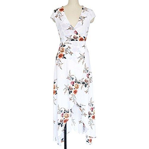 Falda Bohemia ZHUDJ Vestido Imprimir Vestido Verano white Playa Vestido CRUfqw