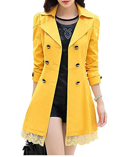 Coat Femme V Automne Fashion Dentelle Trench Splicing Printemps cYO6dZOqwU