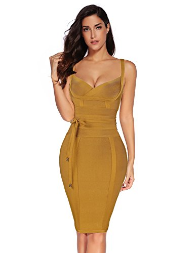Meilun Womens Rayon Belt Detail Bandage Bodycon Party Dress