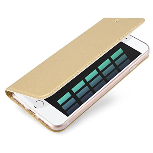 iPhone 8/7 Case,AutumnFall 1PC 2017 New Magnetic Flip Leather Wallet Card Slot Slim Rubber Case Cover Stand For iPhone 8/7 4.7inch (Gold)