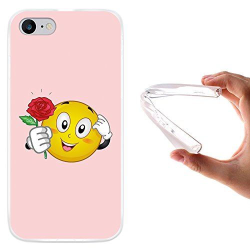 WoowCase Hülle Case für [ iPhone 7 ] Handy Cover Schutzhülle Emoticon Emoji Love Rose
