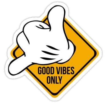 Good Vibes - Hang Loose Fingers (Size W9.3 x H8.2 Centimeter) Car Motorcycle Bicycle Skateboard Laptop Luggage Vinyl Sticker Graffiti Decal Bumper Sticker