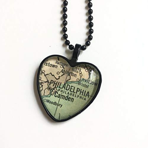 Philadelphia Camden Pennsylvania Map Necklace Pendant Black Atlas GH-813