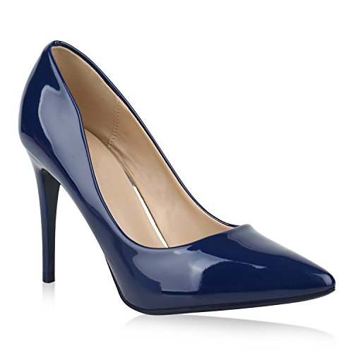 Stiefelparadies Spitze Damen Pumps Stiletto High Heels Elegante Party Schuhe Lack Flandell Blau
