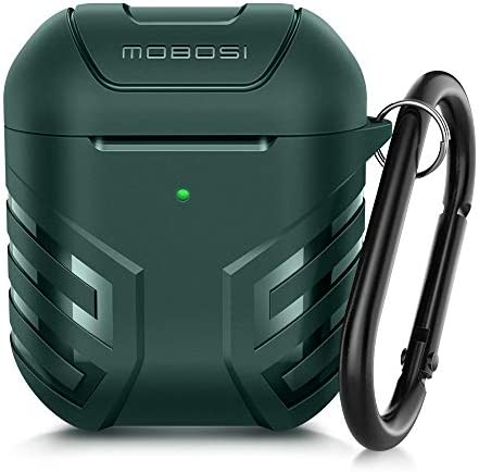 MOBOSI Vanguard Armor Series AirPods Case Cover Designed for AirPods 2 & 1, Full Protective Military AirPod Case with Keychain for AirPods Wireless Charging Case, Midnight Green [Front LED Visible]