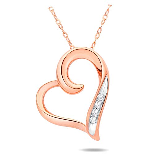 Solid 10k Pink Gold Diamond Heart Pendant Necklace (0.02 cttw, GH Color, I2-I3 Clarity)