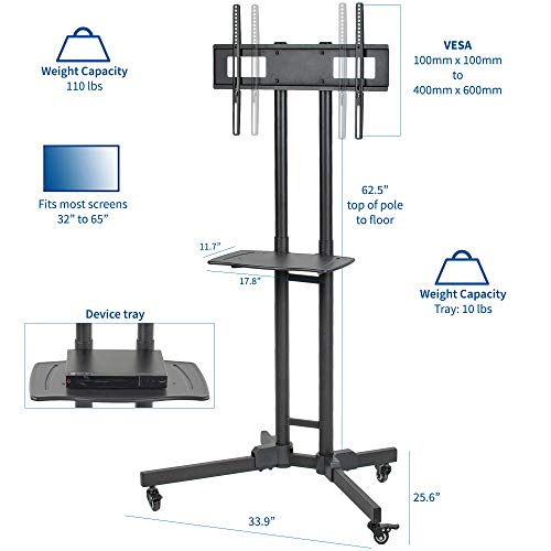 VIVO Mobile Height Adjustable TV Cart with Shelf for LCD LED Flat Screens 32'' to 65'' | TV Stand Mount with Wheels (STAND-TV05K) by VIVO (Image #1)