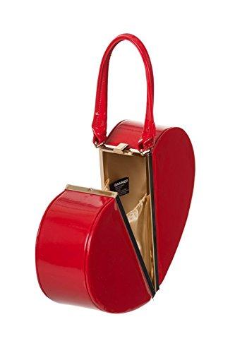 Banned Apparel Corazón Rojo 50s ROCKABILLY barnizados Abierto Vintage Bolso Mano Cartera