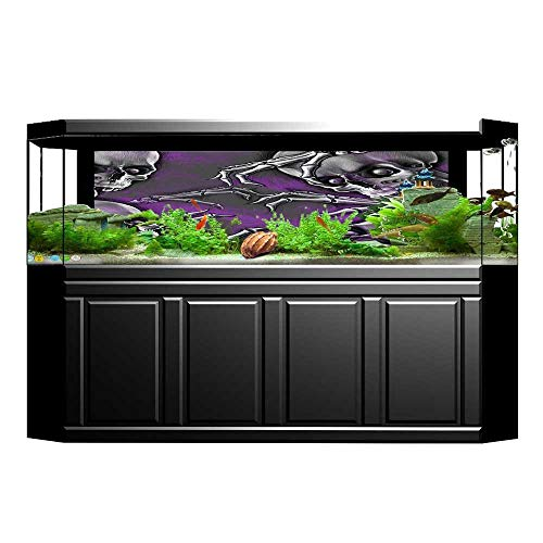 UHOO2018 Fish Tank Background Scary Creepy Spooky Happy Smiling Skeleton with Boned Hand Art Print Purple Grey Pictures PVC Decoration Paper Cling Decals Sticker 35.4