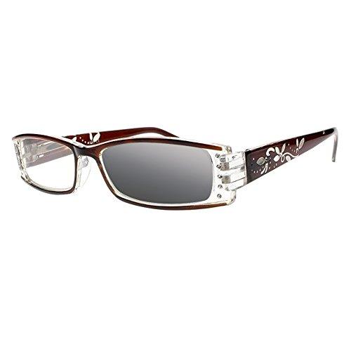 Transition Photochromic Leaves & Flowers Rhinestones Reading Glasses UV400 Sunglasses (Brown, 3.5) (Rhinestone Glasses Reading Brown)