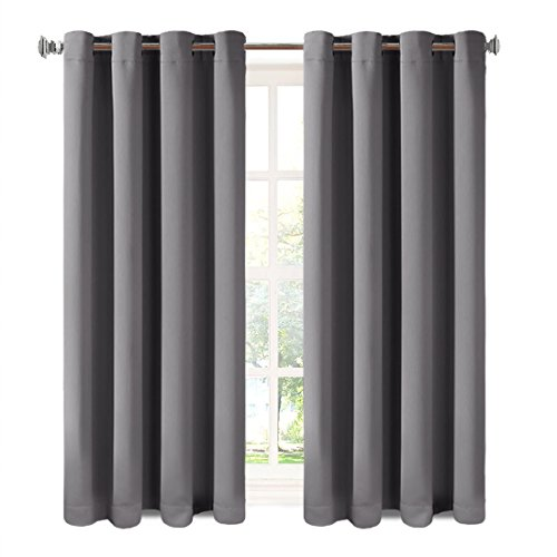 Balichun 2 Panles Blackout Curtains Thermal Insulated Grommets Drapes for Bedroom/ Living Room 52 by 63 Inch Dark Grey