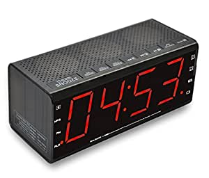 alarm clock digital radio 24 hour bluetooth speaker fm radio usb charging. Black Bedroom Furniture Sets. Home Design Ideas