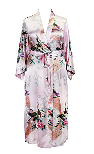 Applesauce 838 - Plus Size Peacock Japanese Women Kimono Sleep Robe, US Size 1X 2X 3X (Peony Pink) by Applesauce