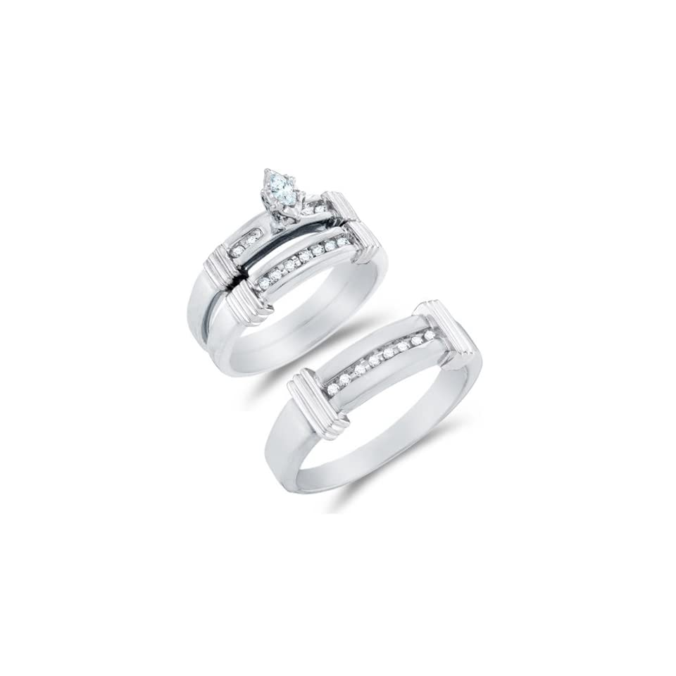"""10K Yellow and White Two Tone Gold Diamond Mens and Ladies His & Hers Trio 3 Three Ring Bridal Matching Engagement Wedding Ring Band Set   Solitaire Setting w/ Channel Set Marquise & Round Diamonds   (1/5 cttw)   SEE """"PRODUCT DESCRIPTION"""""""