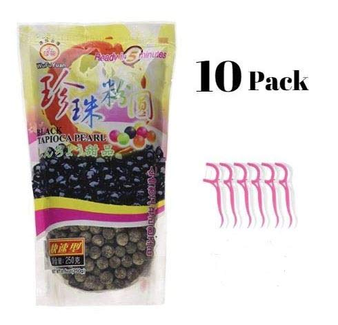 WuFuYuan Black Tapioca Pearl 8.8 Oz (Pack of 10) Bundled with 20ct Dental Flossers in a Prime Time Direct Sealed Bag by WuFuYuan