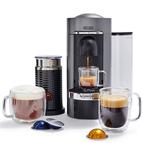 Nespresso ENV155TAE VertuoPlus Deluxe Coffee and Espresso Machine Bundle with Aeroccino Milk Frother by De'Longhi, Titan