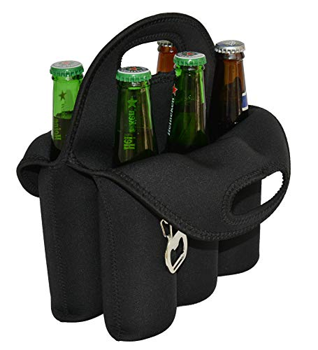 Holder Insulated (CHILDHOOD 6 Pack Beer Carrier Beer Holder Insulated Neoprene Beer Bottles Carrier Tote 12 oz Beer Bottles Can Cooler Holder)