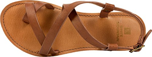 Smooth Womens CAELA Sandals Toe Flat White Mountain Open Walnut Casual B5Wzxq7